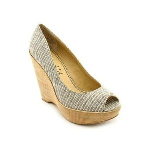 Splendid Layla Peep Toe Wedge 9.5 Canvas Stripe